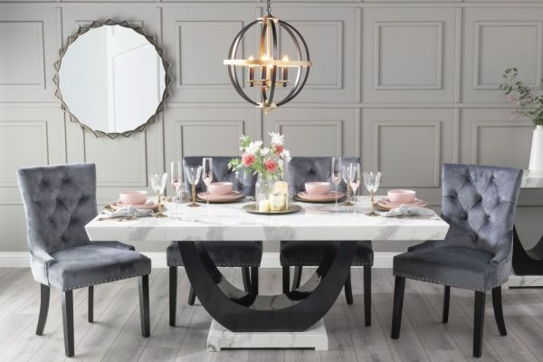 Urban Deco Madrid 200cm White Marble Dining Table with 6 Grey Knockerback Chairs