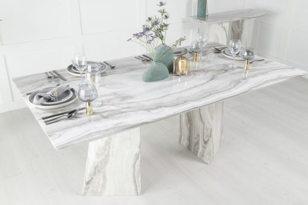Urban Deco Midas 180cm Grey and White Marble Dining Table