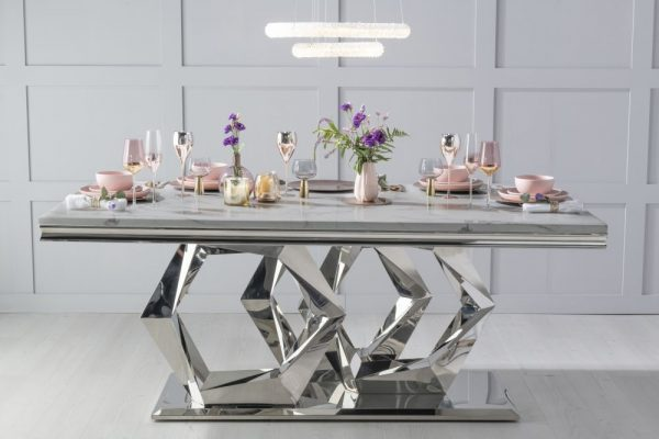 Urban Deco Octa Grey Marble and Chrome Dining Table