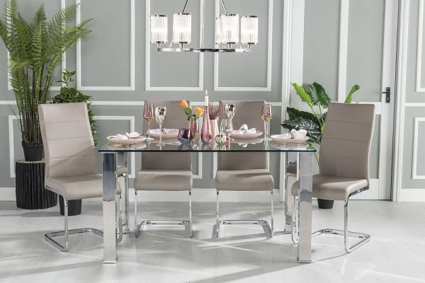 Urban Deco Sophia 180cm Glass and Chrome Dining Table and 6 Malibu Taupe Chairs
