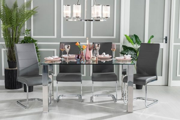 Urban Deco Sophia 90cm Glass and Chrome Dining Table
