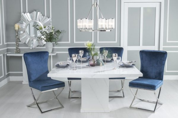 Urban Deco Turin 140cm White Marble Dining Table and 6 Lyon Blue Chairs