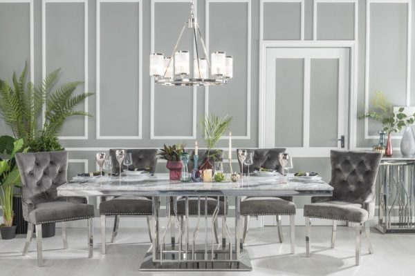 Urban Deco Vortex 220cm Grey Marble and Chrome Dining Table and 6 Grey Knockerback Chrome Leg Chairs
