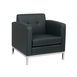 Work Smart Wall Street Club Lounge Chair in Faux Leather - Black by Office Star