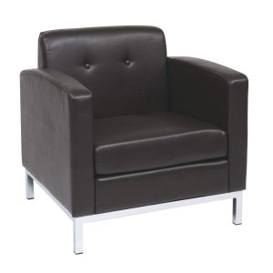 Work Smart Wall Street Club Lounge Chair in Faux Leather - Espresso by Office Star