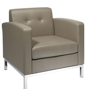 Work Smart Wall Street Club Lounge Chair in Faux Leather - Smoke by Office Star