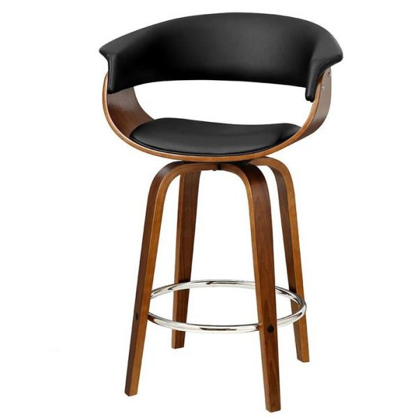 set of 2 Bar Stools Wooden Bar Stool Swivel Kitchen Dining Chairs PU Leather Black
