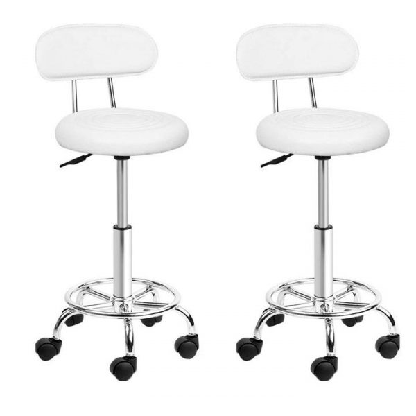 set of 2 Salon Stool Swivel Barber Chair Backrest Hairdressing Hydraulic Height