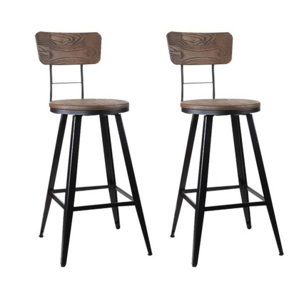 set of 2 Vintage Rustic Bar Stools Retro Swivel Bar Stool Industrial Chairs 66cm