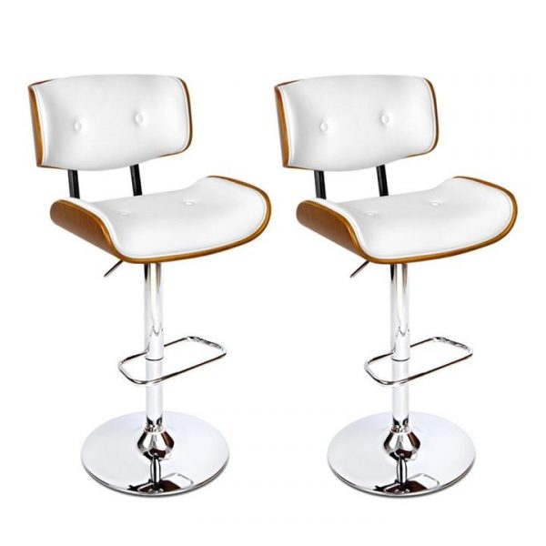 set of 2 Wooden Bar Stools Bar Stool Kitchen Chair Dining White Pad Gas Lift