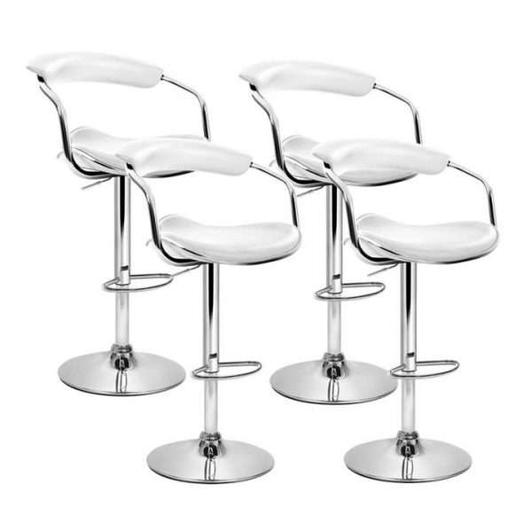 set of 4 PU Leather Bar Stools ADE Kitchen Chairs Swivel Bar Stool White Gas Lift
