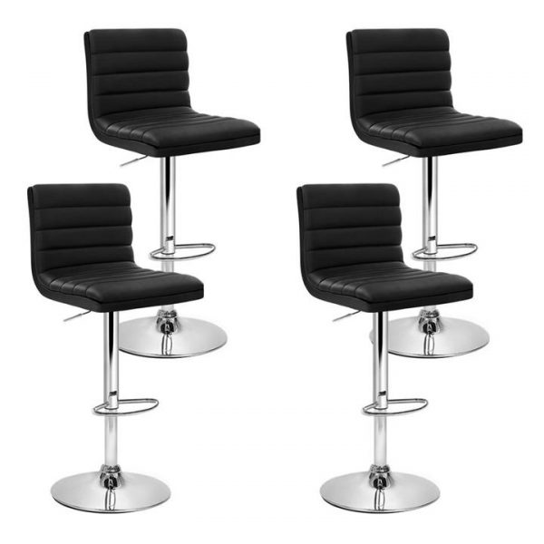 set of 4 PU Leather Bar Stools ARNE Swivel Bar Stool Kitchen Chairs Black Gas Lift