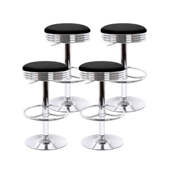 set of 4 PU Leather Bar Stools Kitchen Bar Stool Dining Chair Black Anton Swivel