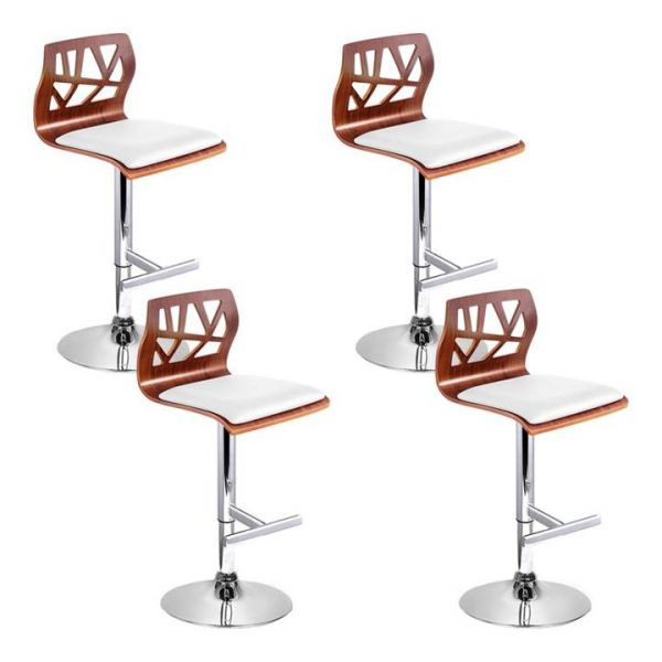 set of 4 Wooden Bar Stools Bar Stool Kitchen Chair Dining Pad Gas Lift White