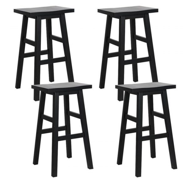 set of 4 Wooden Bar Stools Kitchen Bar Stool Chairs Barstools Black