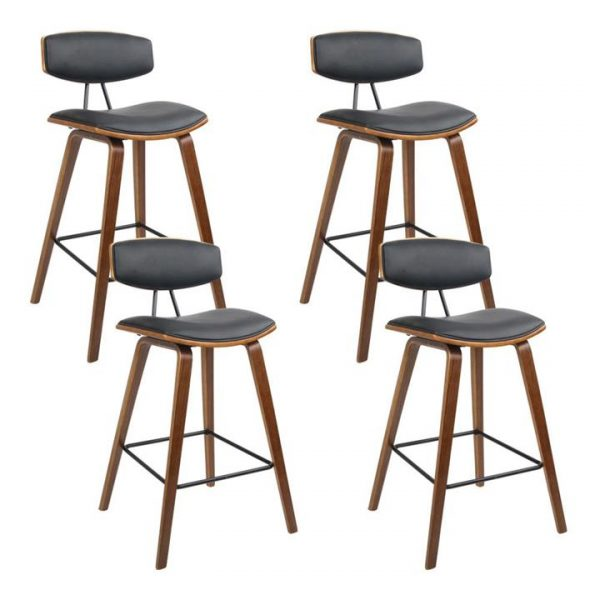 set of 4 Wooden Bar Stools Kitchen Bar Stool Dining Chair Cafe Wood Black