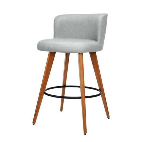set of 4 Wooden Bar Stools Modern Bar Stool Kitchen Dining Chairs Cafe Grey