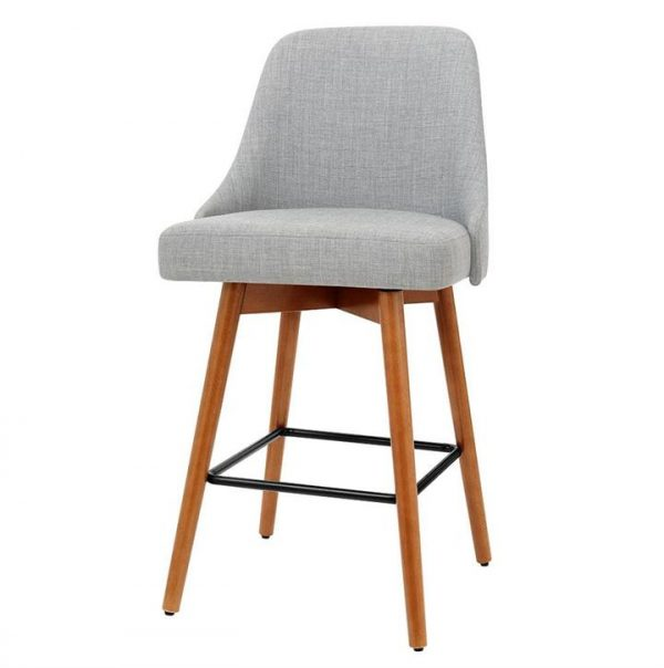 set of 4 Wooden Bar Stools Swivel Bar Stool Kitchen Dining Chairs Cafe Grey