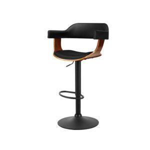 1X Wooden Bar Stools Kitchen Swivel Gas Lift Chairs Leather Black
