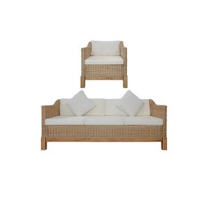 2 Piece Natural Rattan Sofa Set With Cushions