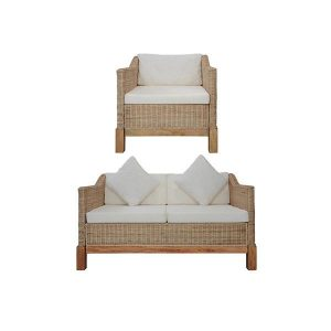 2 Piece Natural Rattan Sofa Set With Cushions Cream White