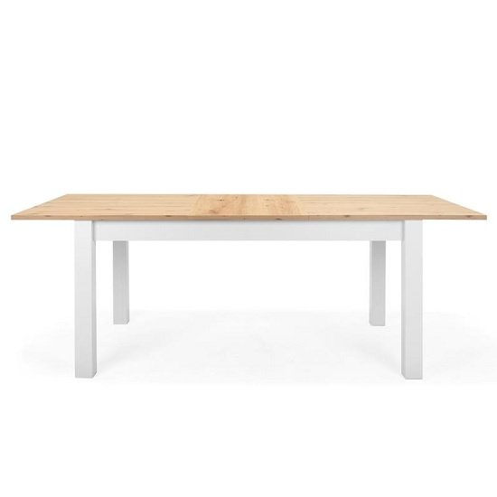 Alder Wooden Extendable Dining Table In Artisan Oak And White