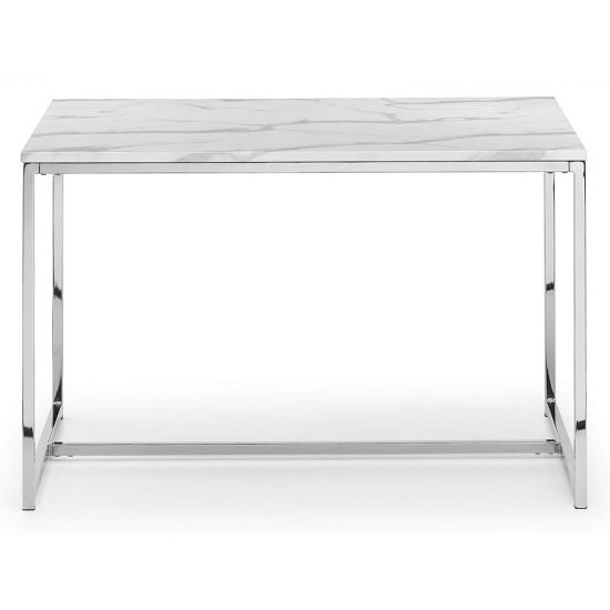 Angeles Gloss White Marble Effect Rectangular Dining Table