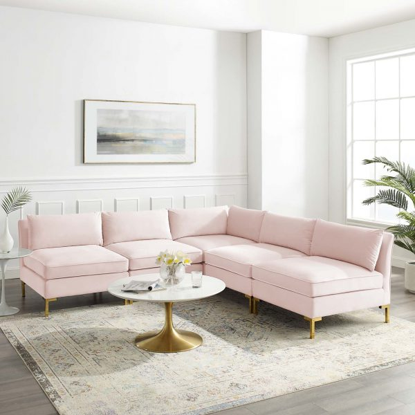 Ardent 5-Piece Performance Velvet Sectional Sofa in Pink