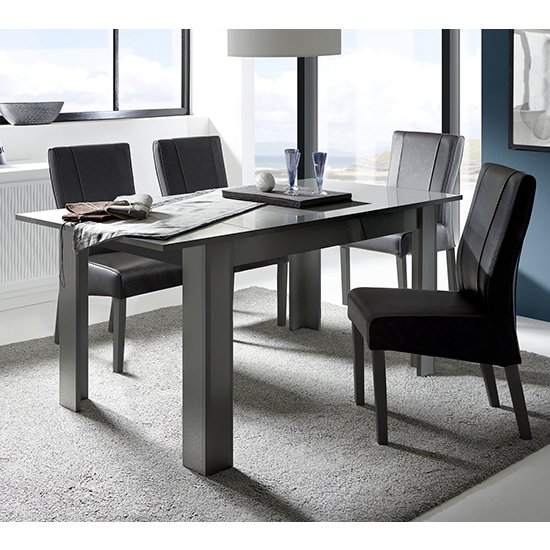 Ardent Extending Dining Table In Grey Gloss With 4 Miko Chairs