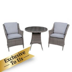 Arles Bistro Outdoor Dining Set - Grey Rattan