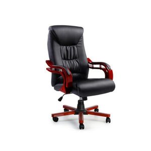 Artiss Executive Wooden Office Chair Wood Computer Chairs Leather Seat