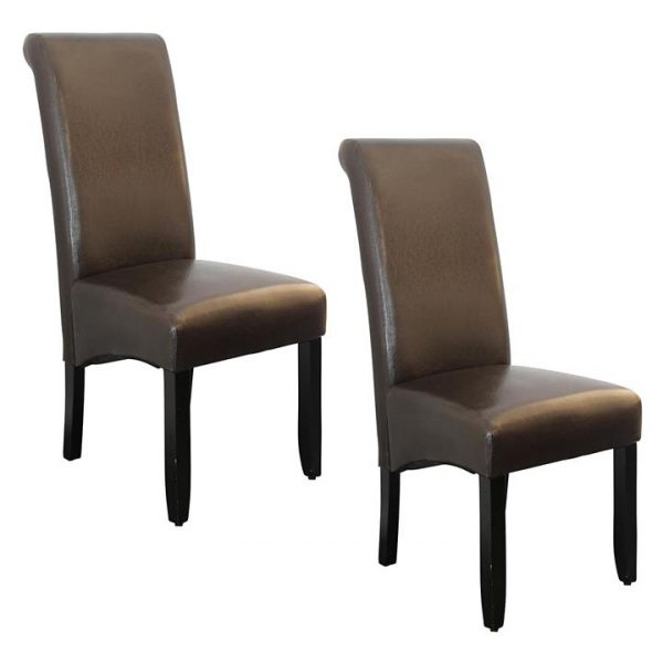 Ava Faux Leather Dining Chair, Brown (Set of 2)