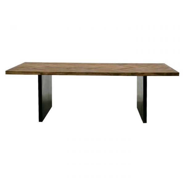 Baron Reclaimed Elm Timber & Metal Dining Table, 240cm