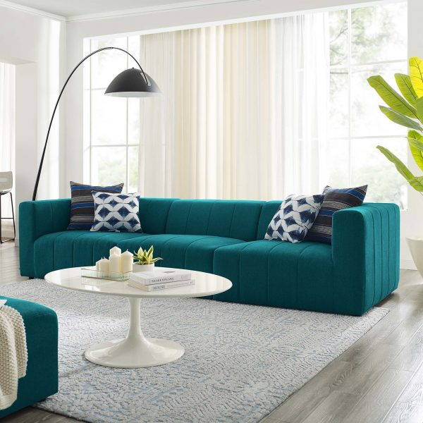 Bartlett Upholstered Fabric 3-Piece Sofa in Teal