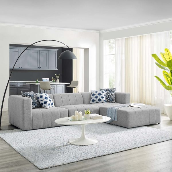 Bartlett Upholstered Fabric 4-Piece Sectional Sofa in Light Gray