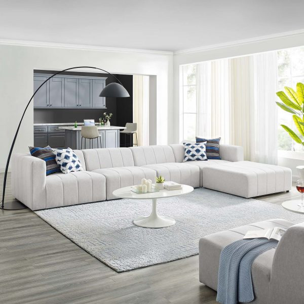 Bartlett Upholstered Fabric 5-Piece Sectional Sofa in Ivory