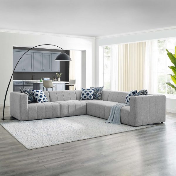 Bartlett Upholstered Fabric 5-Piece Sectional Sofa in Light Gray