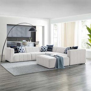 Bartlett Upholstered Fabric 6-Piece Sectional Sofa in Ivory