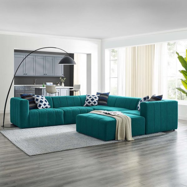 Bartlett Upholstered Fabric 6-Piece Sectional Sofa in Teal