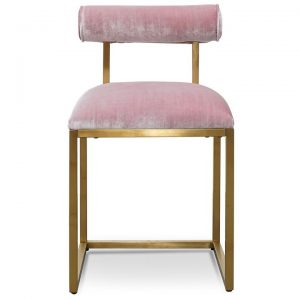 Bouvard Velvet Fabric & Metal Dining Chair, Blush / Gold