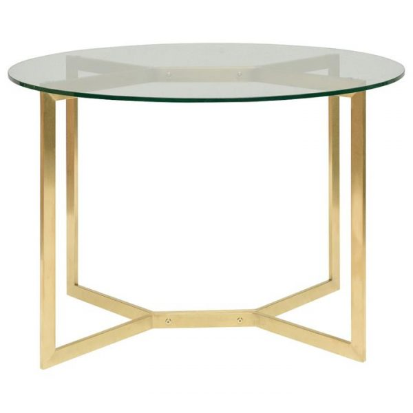 Broarna Glass & Stainless Steel Round Dining Table, 120cm