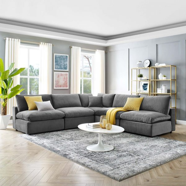 Commix Down Filled Overstuffed Performance Velvet 5-Piece Sectional Sofa in Gray