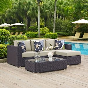 Convene 3 Piece Outdoor Patio Sofa Set in Espresso Beige