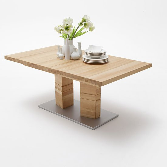 Cuneo Extendable Rectangular Dining Table Large In Core Beech