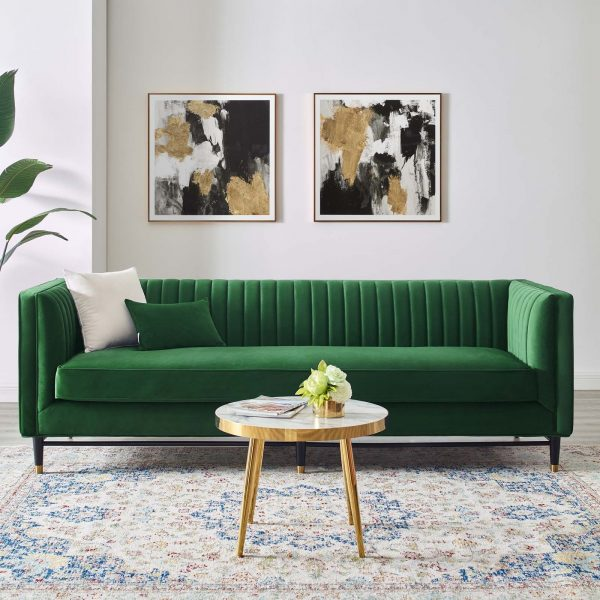 Devote Channel Tufted Performance Velvet Sofa in Emerald