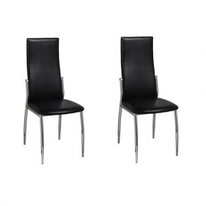 Dining Chairs Modern Artificial Leather (2 Pcs) - Black