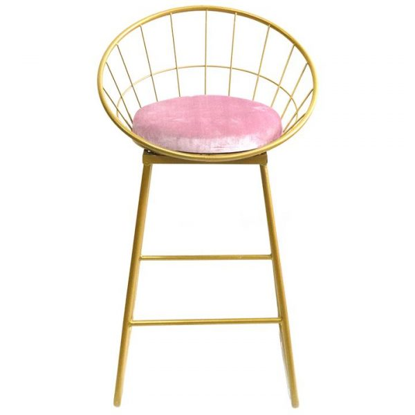 Domed Metal Counter Stool, Gold / Pink