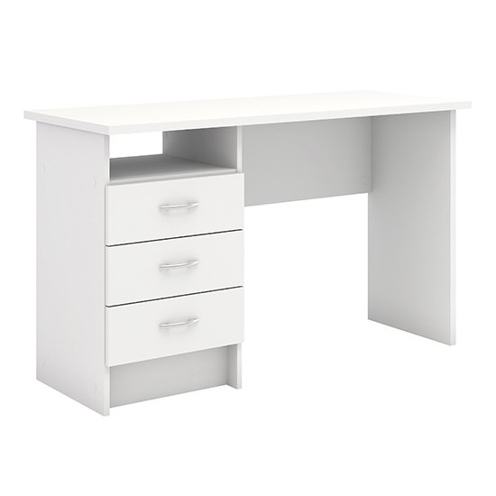Frosk Wooden 3 Drawers Computer Desk In White