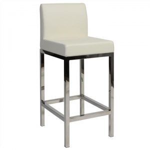 Fuji V2 Commercial Grade Vinyl Upholstered Stainless Steel Counter Stool - White
