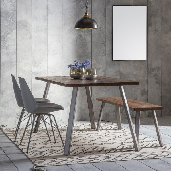 Gallery Camden Rustic Dining Table with 4 Finchley Grey Chairs and Bench